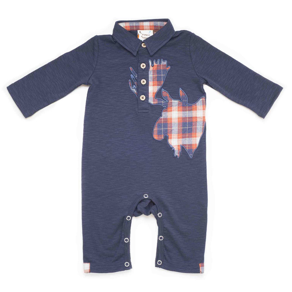Boys Navy Slub Moose Applique Romper