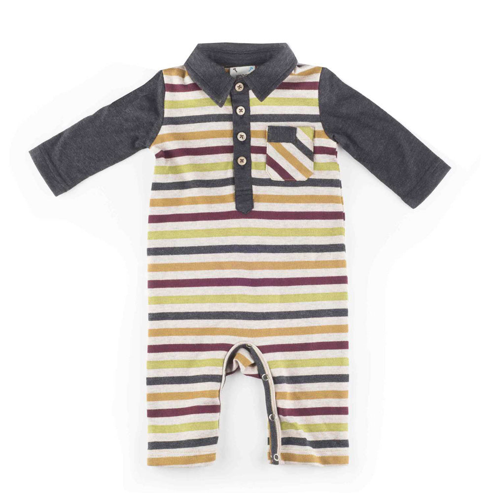 Boys Long Sleeve Multi-Striped Knit Romper