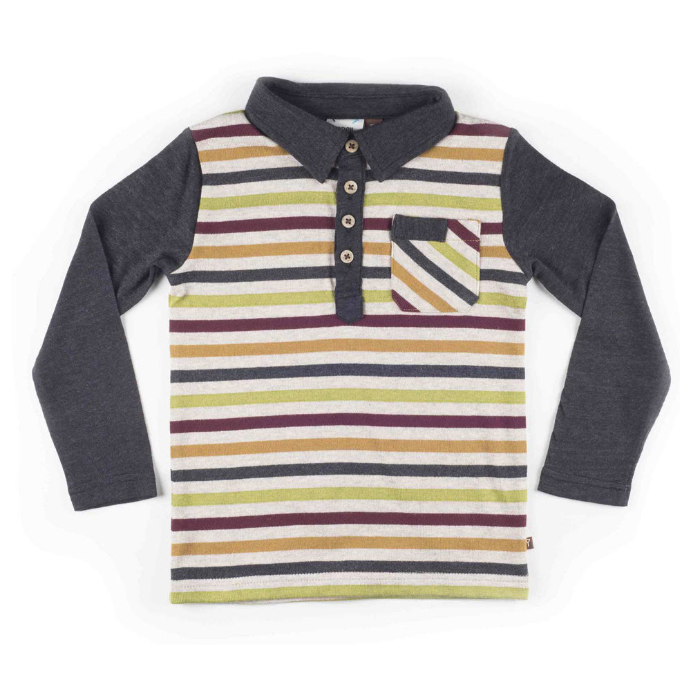 Boys Long Sleeve Multi-Stripe Knit Polo Shirt