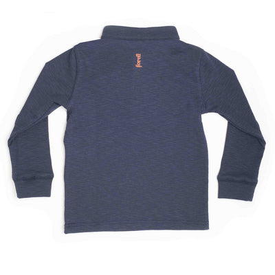 Boys Navy Slub Moose Applique Henley