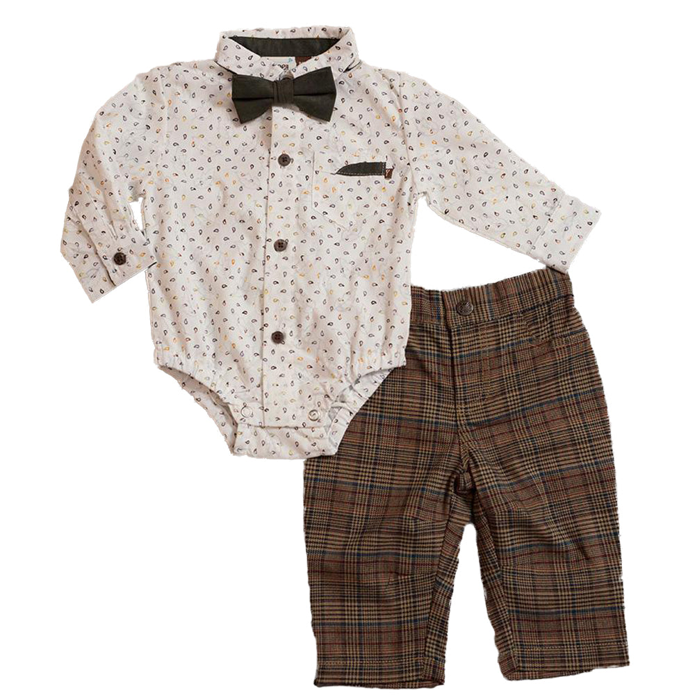 Boys Paisley Bodysuit, Plaid Pant/Suede Bow Tie