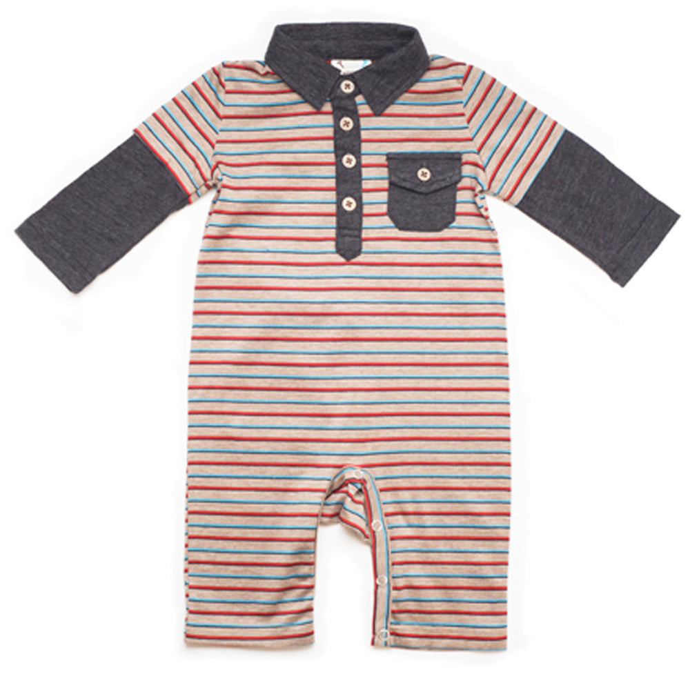 Boys Long Sleeve Arctic Stripe Romper