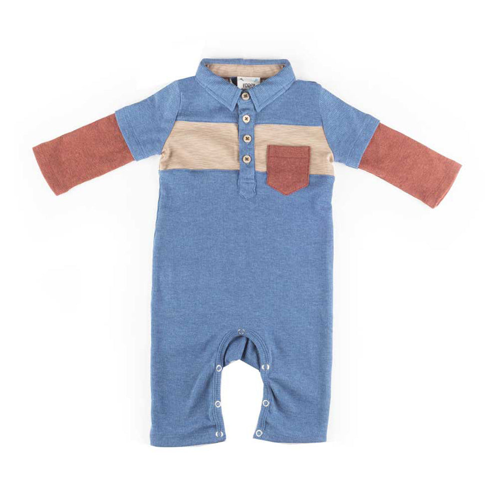 Boys Atlantic Blue Color block Romper