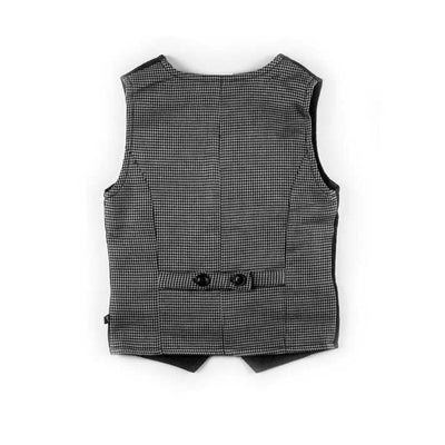 Charcoal Brush Flannel with Houndstooth Vest