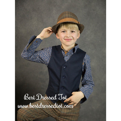 Boys Navy Vest with Leaf Back