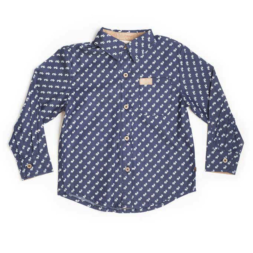 Boys Long Sleeve Moose Print Shirt