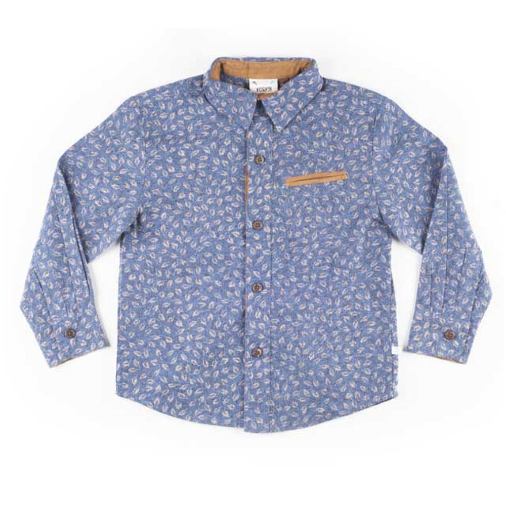 Boys Long Sleeve Leaf Print Shirt