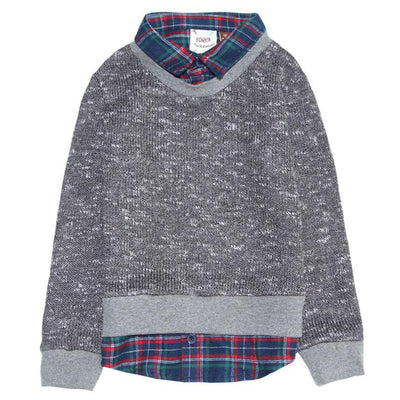 Waffle Knit Sweater and Plaid 2fer Shirt for Boys