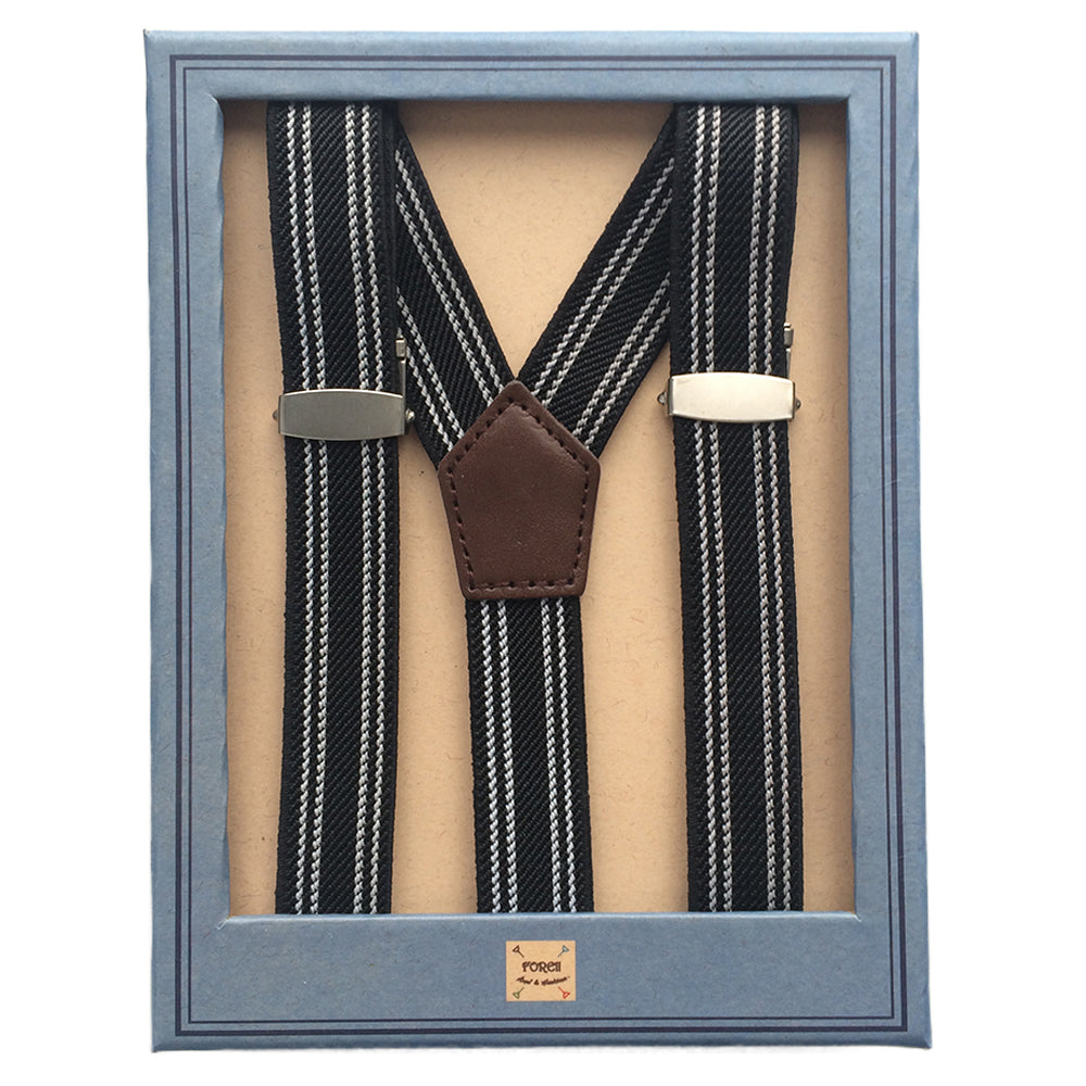 Black andWhite Stripe Suspenders