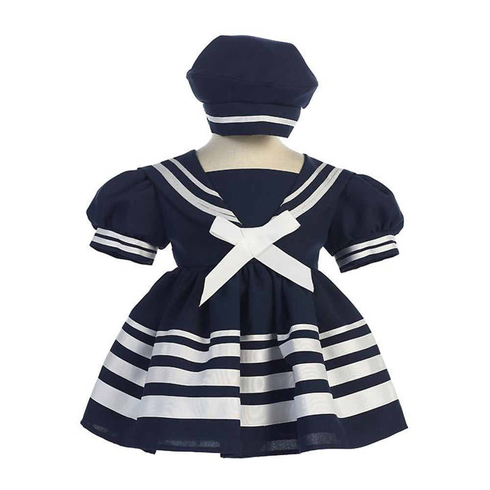 Girls Navy Nautical Sailor Dress and Hat - Striped Skirt