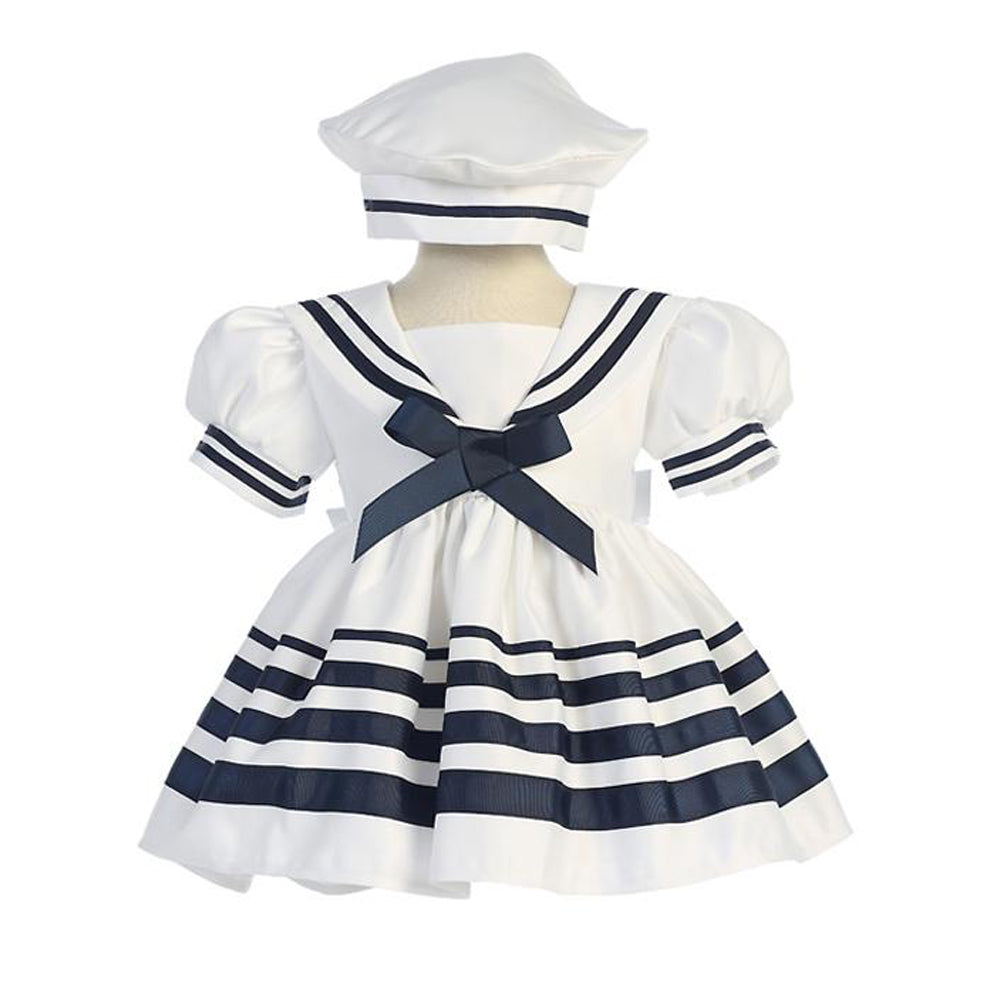 Girls White Nautical Sailor Dress and Hat - Striped Skirt