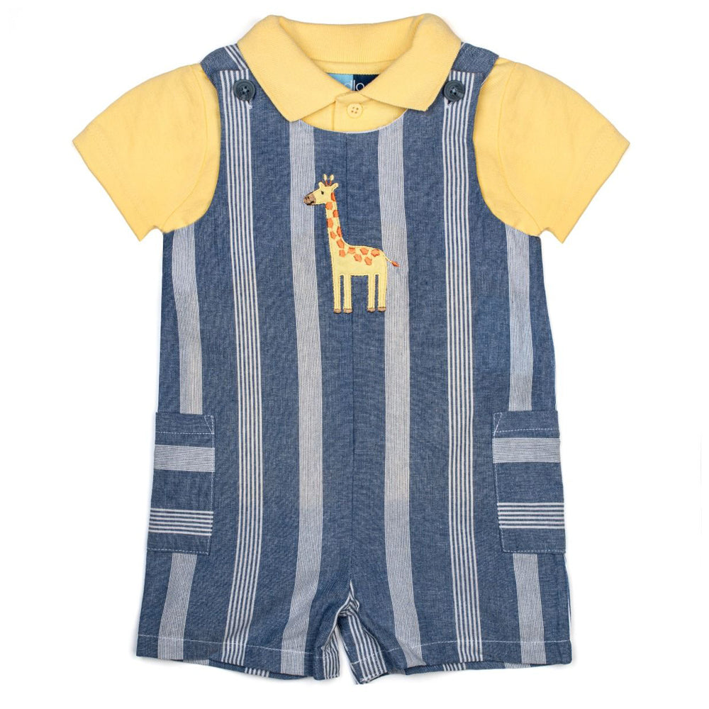 Baby Boys Chambray Stripe Shortall Set with Giraffe Applique