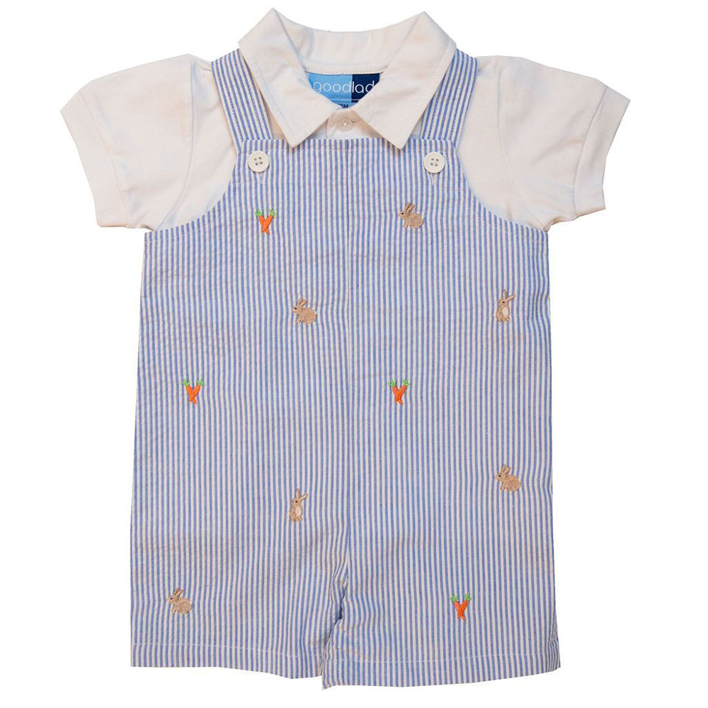 Baby Boys Blue Seersucker Shortall Set with Embroidered Bunnies