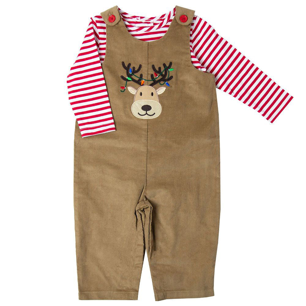 Baby Boys Tan Corduroy Holiday Reindeer Appliqued Overall and Striped Bodysuit Set