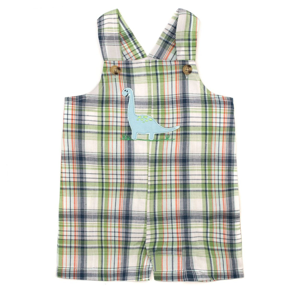 Baby Boys Green Plaid Shortall with Dinosaur Applique