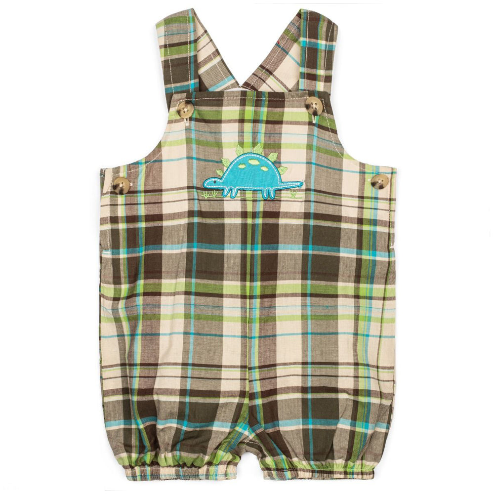 Baby Boys Brown Plaid Shortall with Dinosaur Applique
