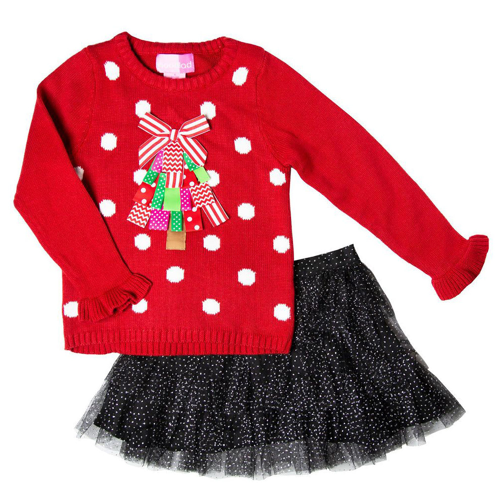 Toddler Girls Christmas Tree Applique Sweater and Sparkle Tulle Skirt Set
