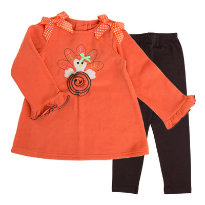 Baby Girls Fleece Legging Set with Turkey Applique