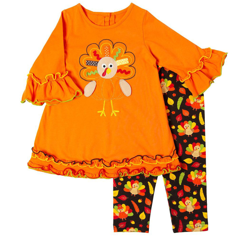 Girls Thanksgiving Legging Set with Turkey Applique