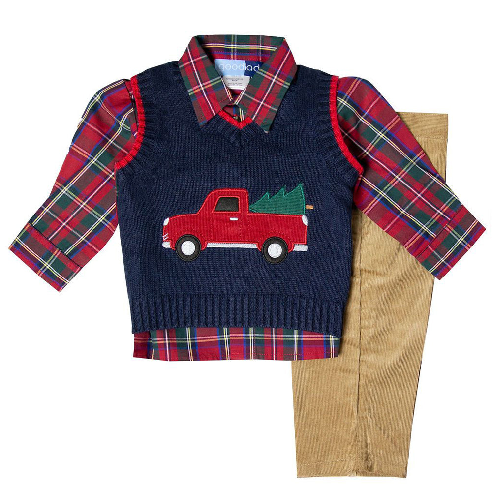 Christmas Truck Appliqued Navy Sweater Vest Three Piece Set