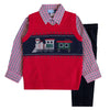 Train Appliqued Red Sweater Vest Three Piece Set
