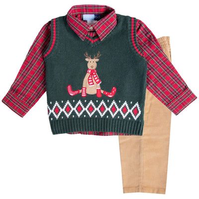 Reindeer Appliqued Green Sweater Vest Three Piece Set