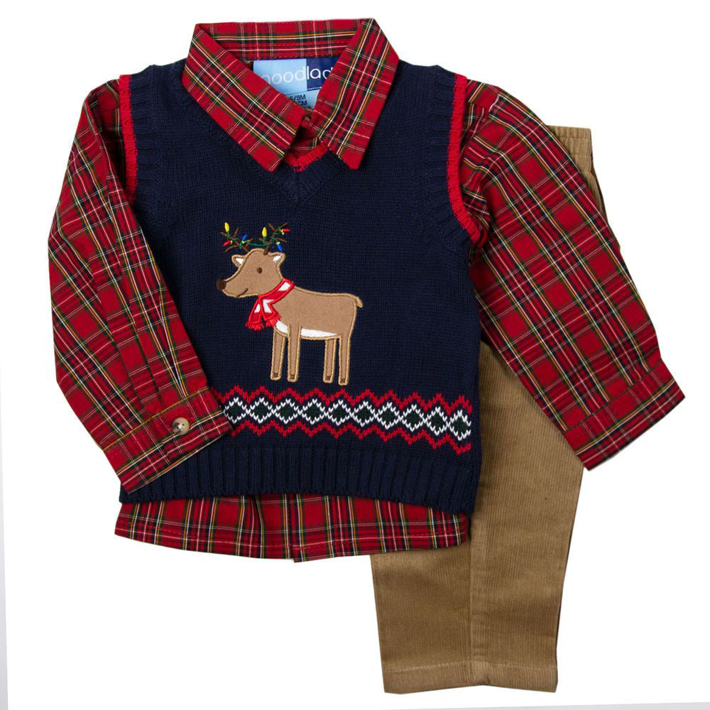 Reindeer Appliqued Navy Sweater Vest Three Piece Set
