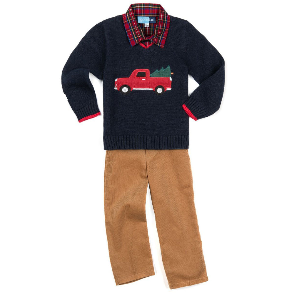 Christmas Truck Appliqued Navy Long Sleeve Sweater Three Piece Set