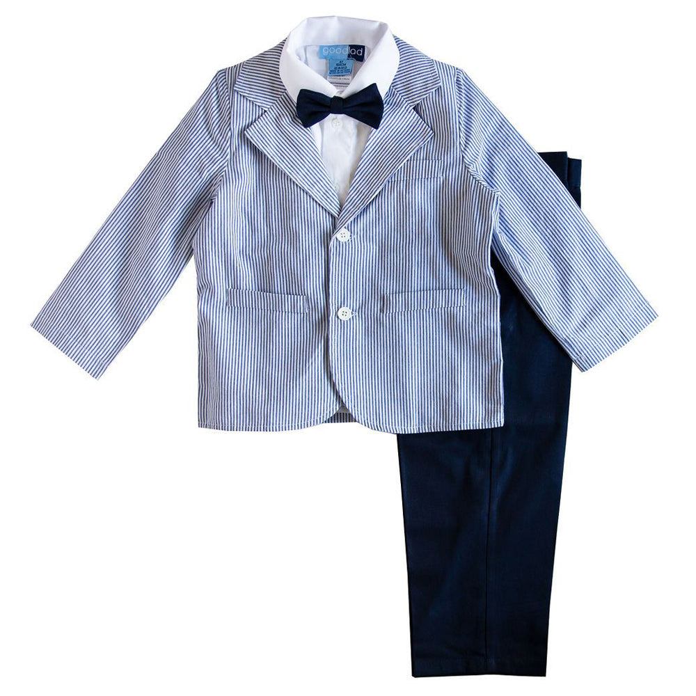 Boys 4-piece Seersucker Jacket and Navy Twill Pant Suit Set