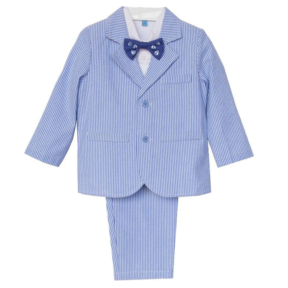 Boys 4-piece Blue Seersucker Suit