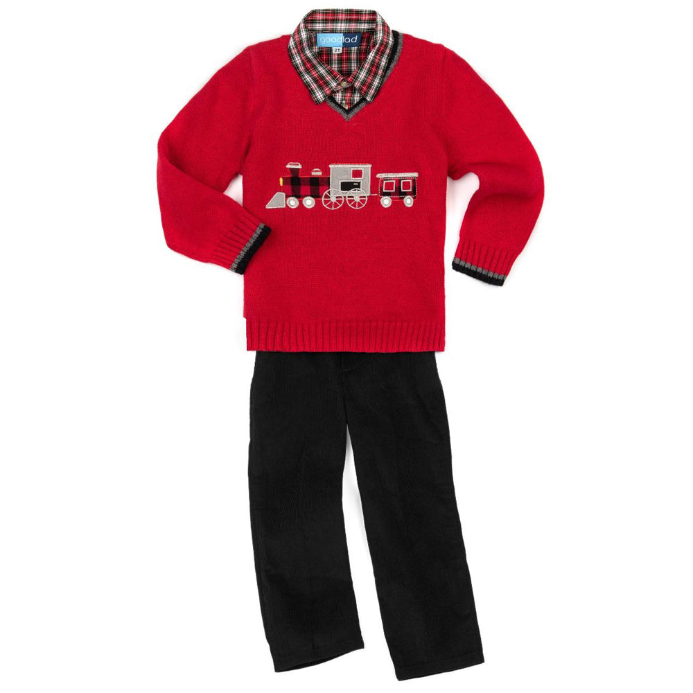 Red Train Appliqued Long Sleeve Sweater Three Piece Set