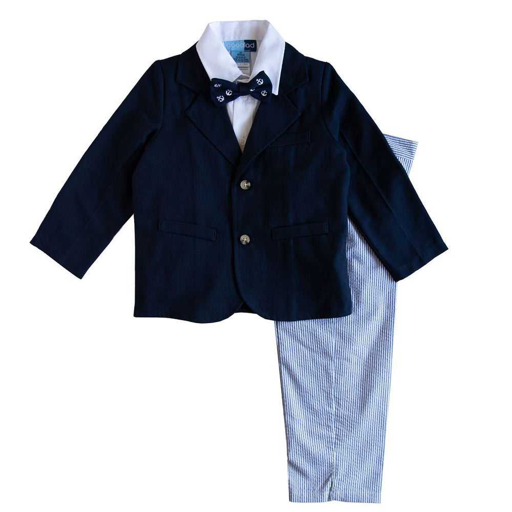 Boys 4-piece Solid Navy Jacket and Seersucker Pant Suit Set