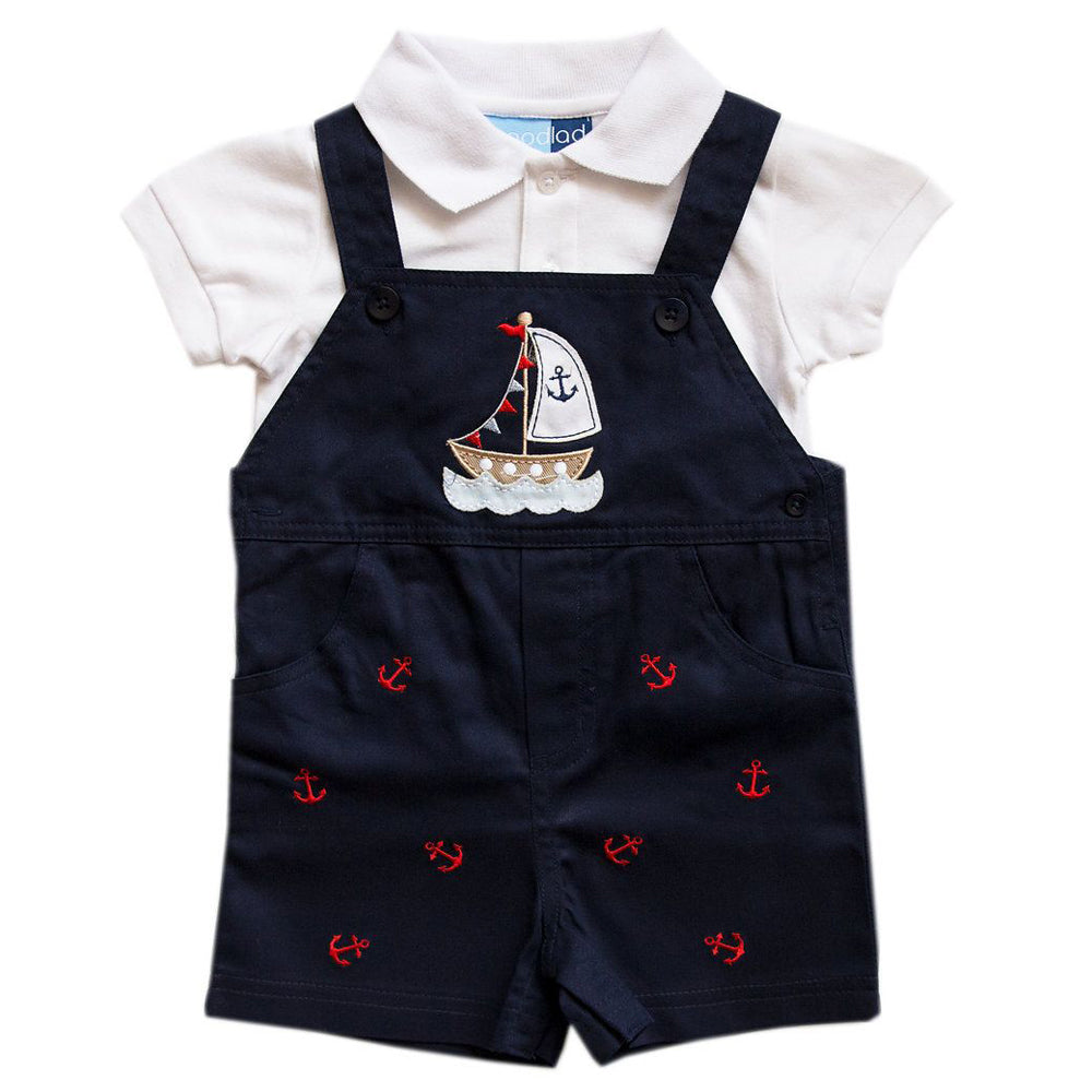 Baby Boys Navy Shortall Set with Sailboat Applique