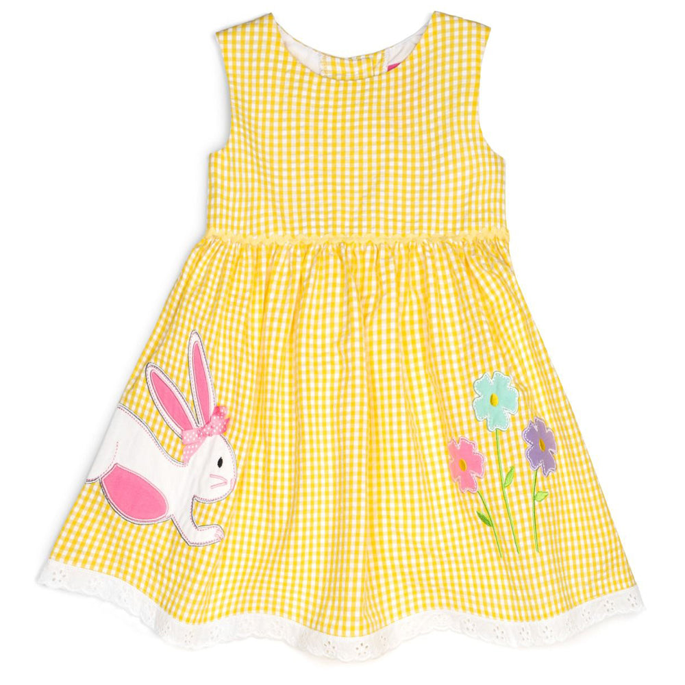 Baby and Little Girls Yellow Seersucker Dress with Bunny Applique