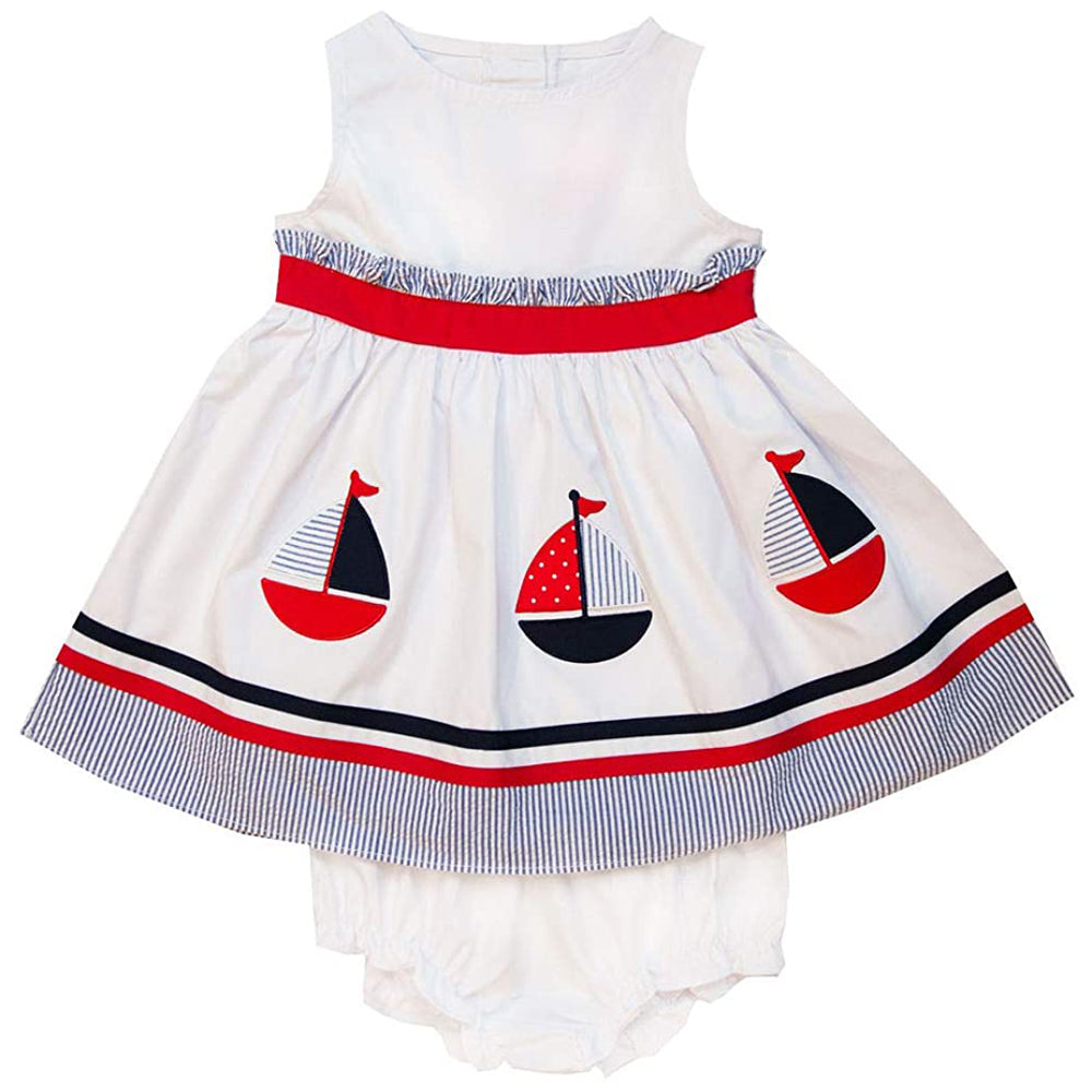 White Poplin Nautical Dress with Sailboat Appliques