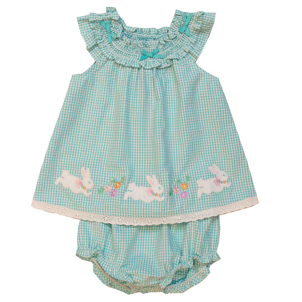 Baby Girls Turquoise Seersucker Bunny Applique Dress and Panty Set