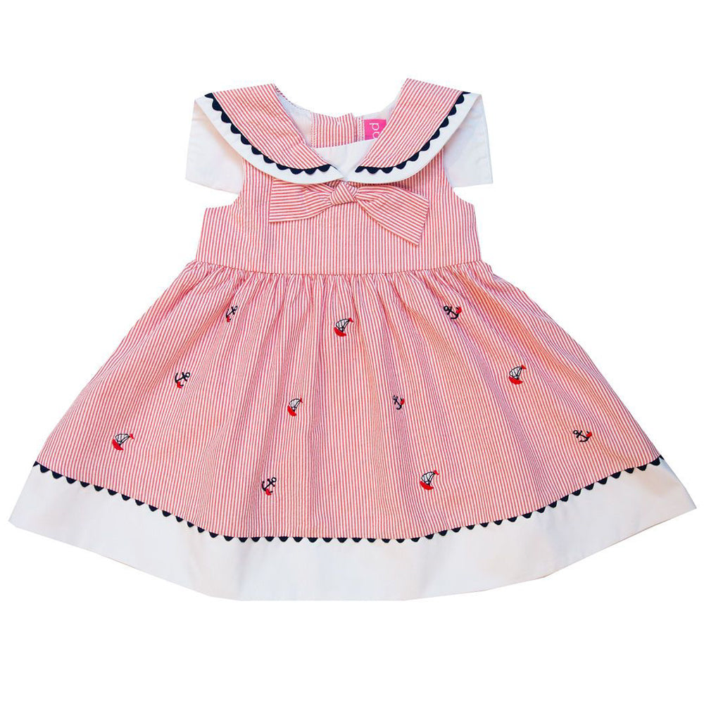 Baby and Little Girls Red Seersucker Nautical Collar Dress