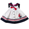 White Sailor Nautical Dress with Sailboat Applique