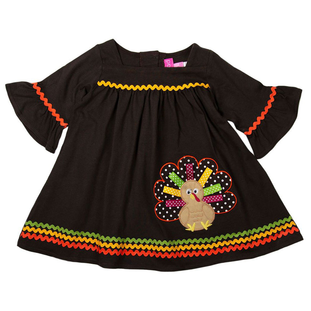 Girls Brown Knit Thanksgiving Dress with Turkey Applique