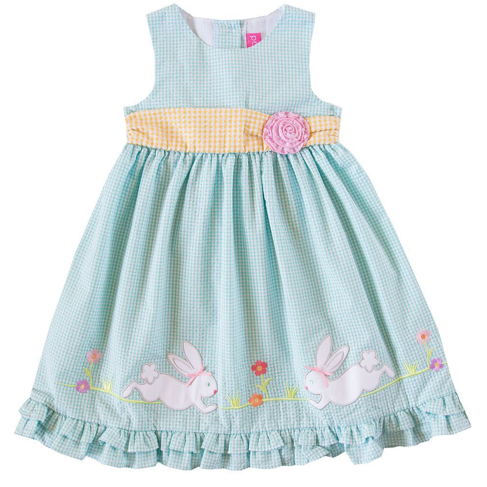 Girls Turquoise Seersucker Bunny Applique Dress