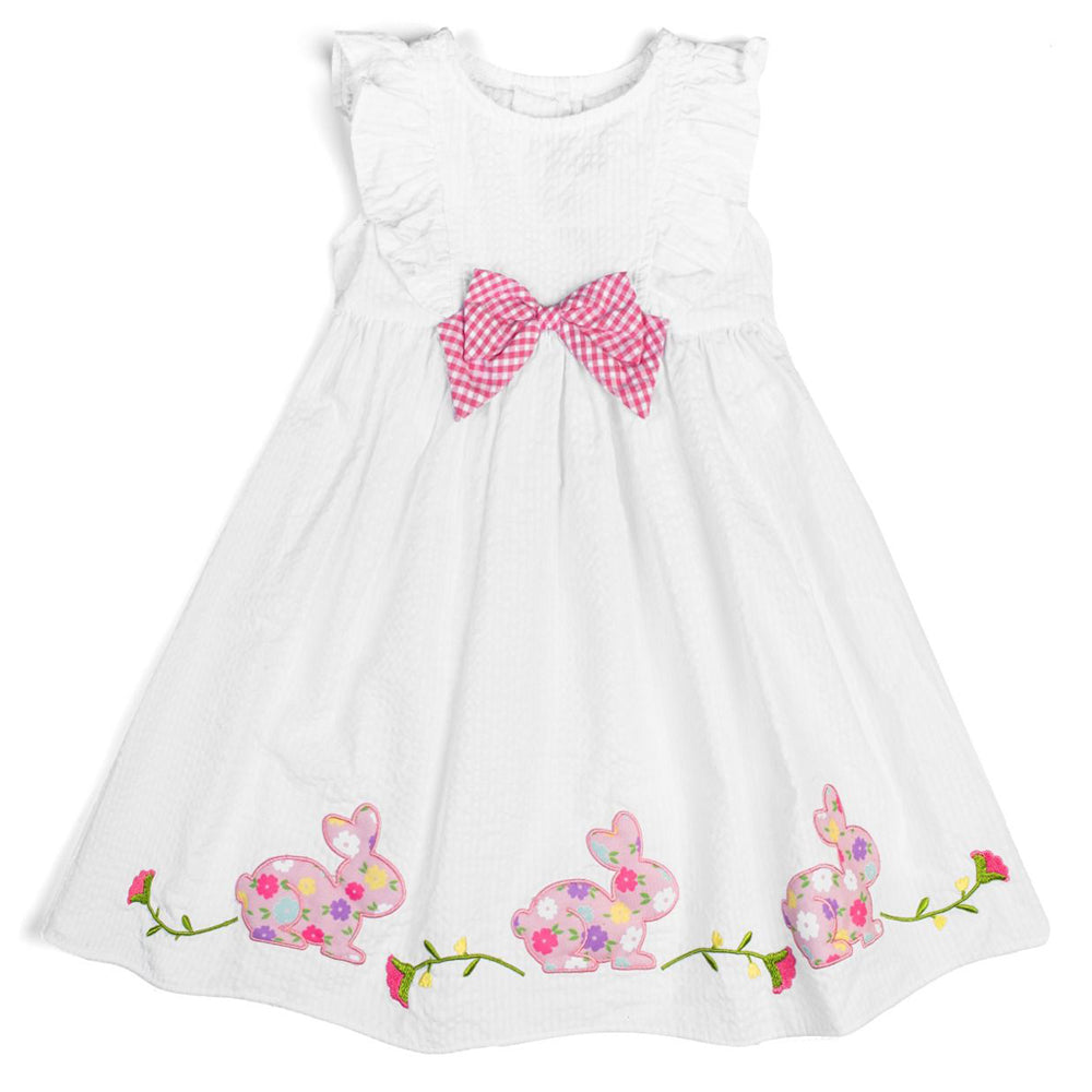 Girls White Seersucker Apron Dress with Bunny Appliques