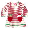 Girls Red and White Stripe Knit French Terry Holiday Dress