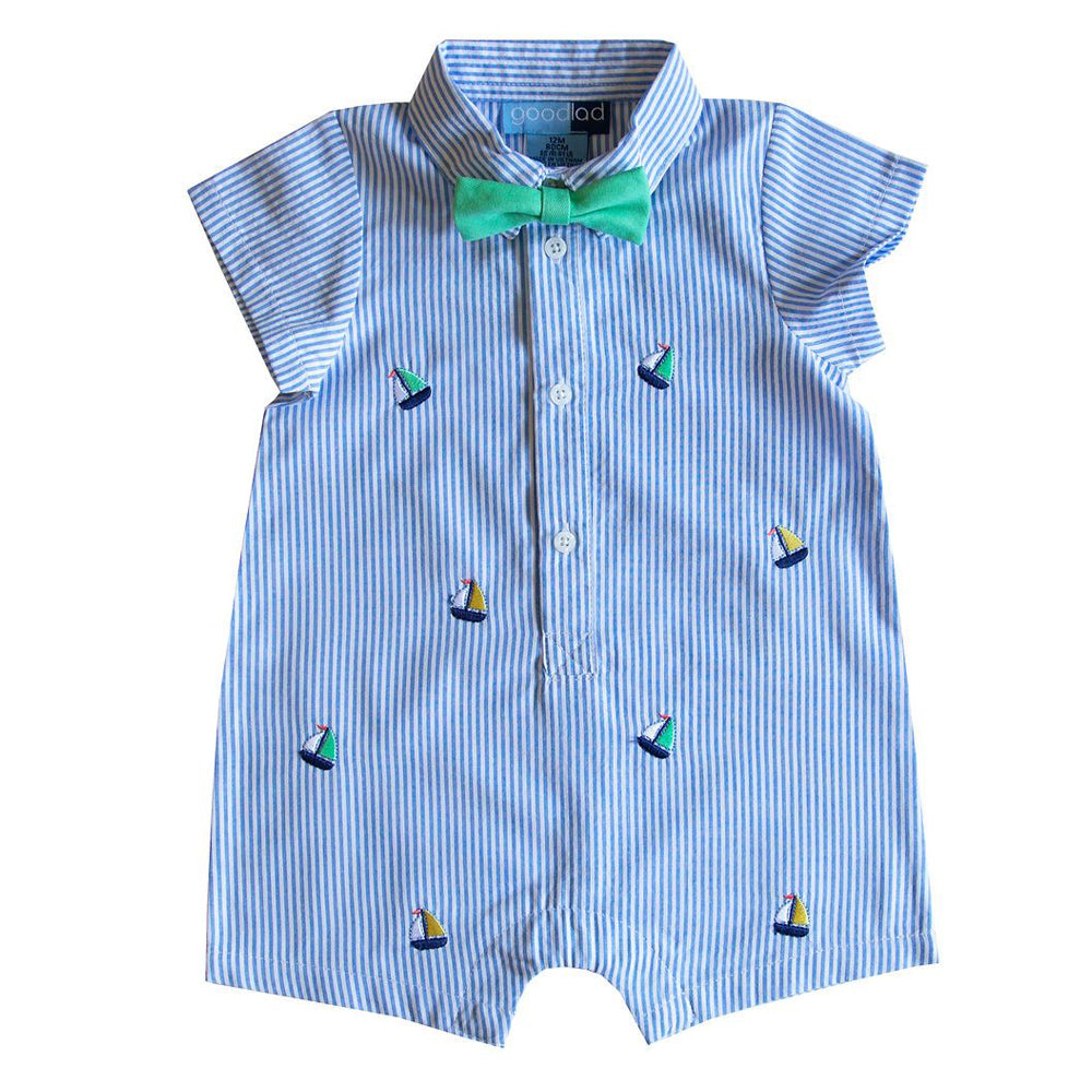 Baby Boys Blue Seersucker Romper with Sailboat Embroideries