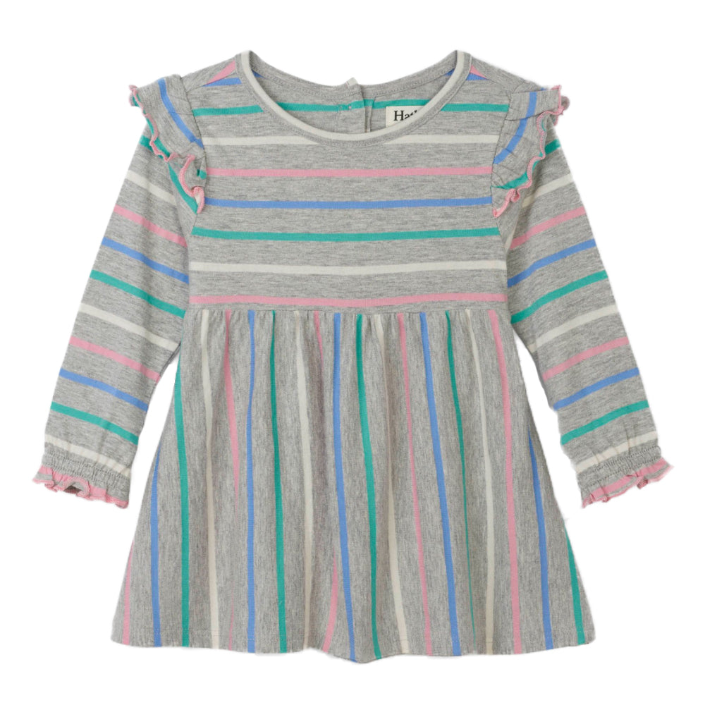 Sweet Stripe Ruffle Cap Sleeve Baby Dress