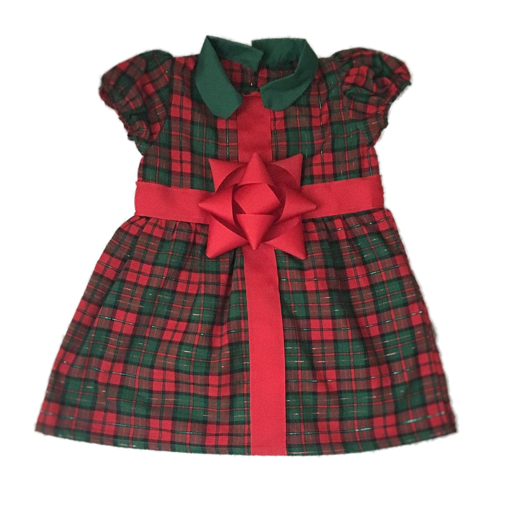 Christmas Plaid Bow Dress