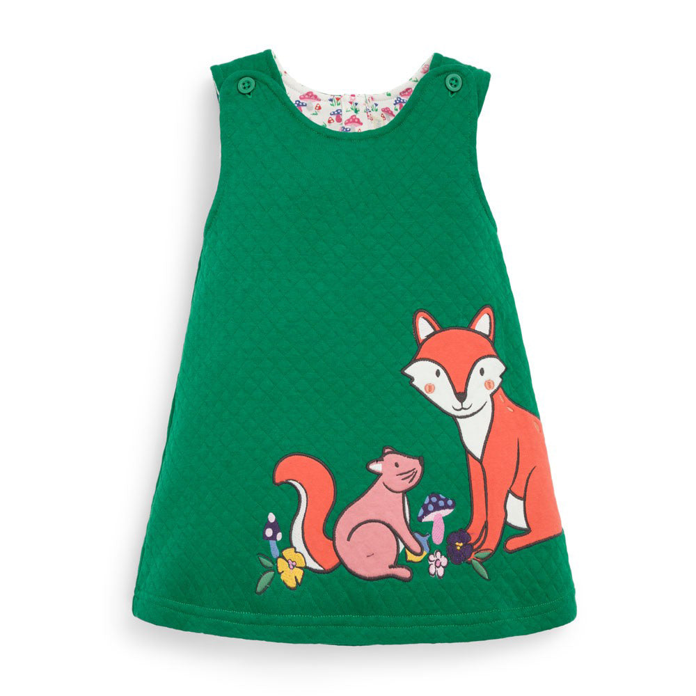 Girls Quilted Green Fox Jumper Dress