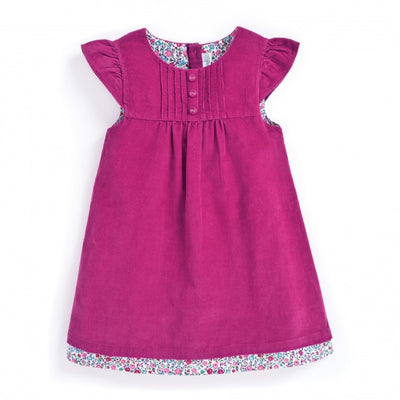 Girls Pretty Raspberry Cord Dress