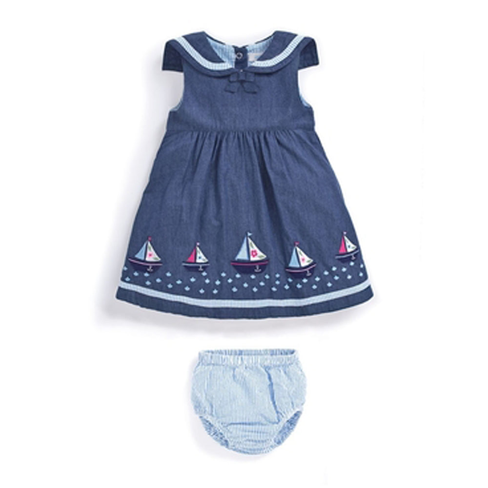 Sailboat Baby Dress with Bloomers