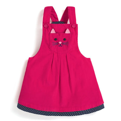 Rhubarb Cat Cord Dungaree Dress