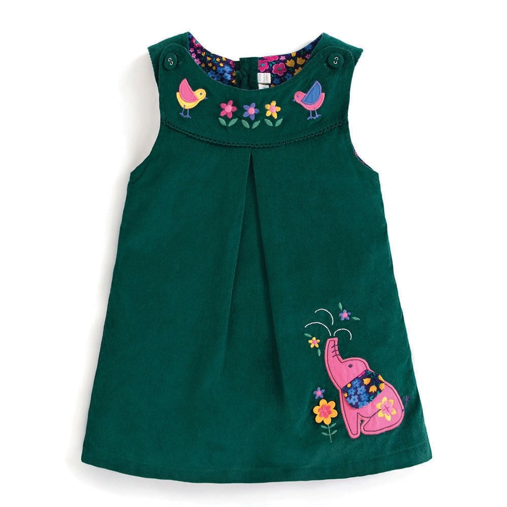 Girls Teal Elephant Jumper Dress